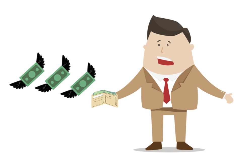 Illustration of a man with money flying away